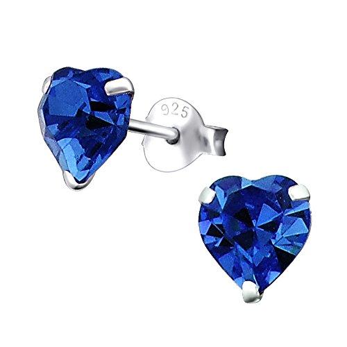 Laimons Orecchini a pressione da donna gioielli da donna Cuore Blu Con brillantini Argento Sterling 925