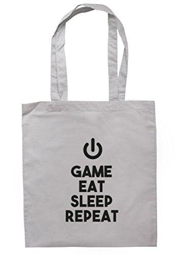breadandbutterthreads gioco Eat Sleep ripetere Borsa 37,5cm x 42cm con manici lunghi Light Grey