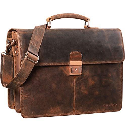 STILORD \'Apollon\' Arbeitstasche Herren Leder Vintage Aktentasche Umhängetasche Dokumententasche A4 15,6 Zoll Laptop Tasche für Büro Business Echtleder, Farbe:Sepia - braun