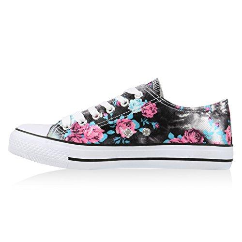 Damen Sneakers Low Blumen Prints Freizeit Schuhe Turnschuhe Schwarz Blau
