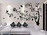 Asvert Stickers Autocollants Muraux 3D en Acrylique Arbre avec des Branches Incurvées et des Cadres de Photo et des Oiseaux (M, Noir vert Gauche)...