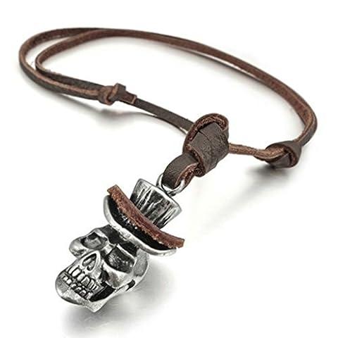 Epinki Unisex Pendant, Stainless Steel Skull Necklace Silver 21*32MM