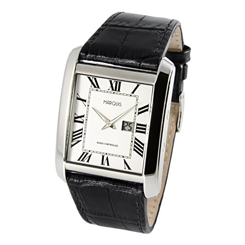 Elegant Marquis Men's Watch Junghans Movement) Brown Leather Bracelet with Stainless Steel Clasp and Stainless Steel Casing 964.4909