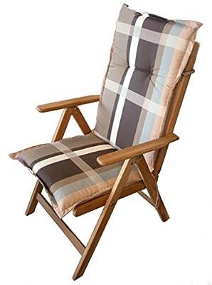 Pflegeleichtes Polster für Hochlehner - schwarz - Gartenstuhl Auflage mit Haltegurt - Sitzkissen Stuhlauflage von Spetebo auf Gartenmöbel von Du und Dein Garten