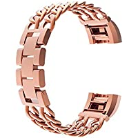 Wearlizer metal Watch cinturino di ricambio per Fitbit Charge 2, S Rose Gold, L