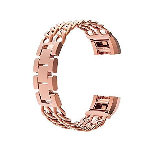 Wearlizer en métal Bandes de montre bracelet de remplacement pour Fitbit Charge 2–Or rose Grande