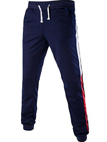 Fulok Herren Hose, blau Baseball Heavyweight Knit Pants