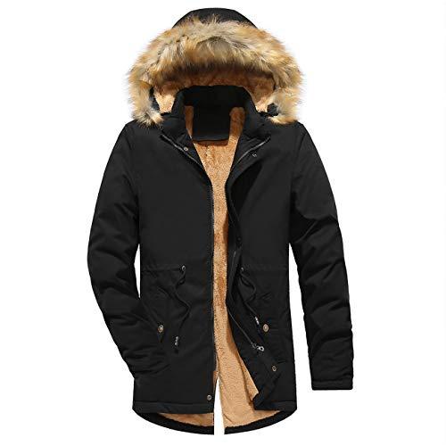 Herren Draussen Gefüttert Baumwolle Kapuzen Zipeer Warm Verdicken Winter Baumwolle Jacke Mantel(XL,schwarz) Canada Goose Chateau Parka