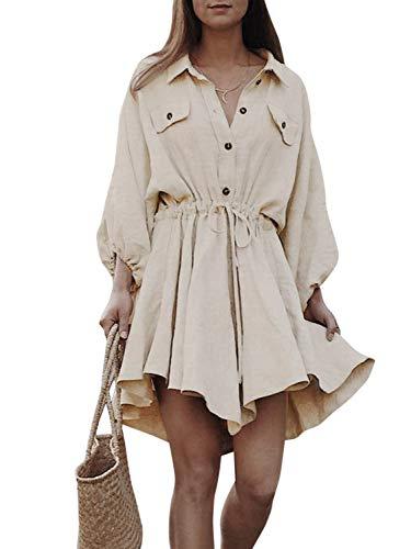 fb42edb0adbe64 MsLure Hemdkeild Kurz Leinen Langarm Baumwolle Dress Mit Knöpfe Vintage  Kleid