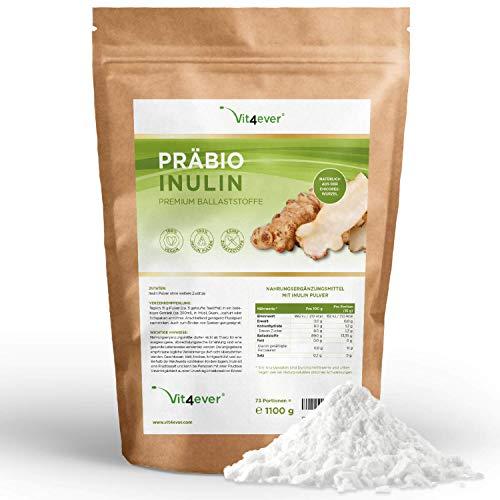 Vit4ever® Präbio Inulin Pulver - 1100 g - Hoher Ballaststoffgehalt - Präbiotikum - Laborgeprüft - Natürlich aus der Chicoree Wurzel - Ideal für Getränke, zum Kochen und Backen - 100% Vegan - Natürlich -