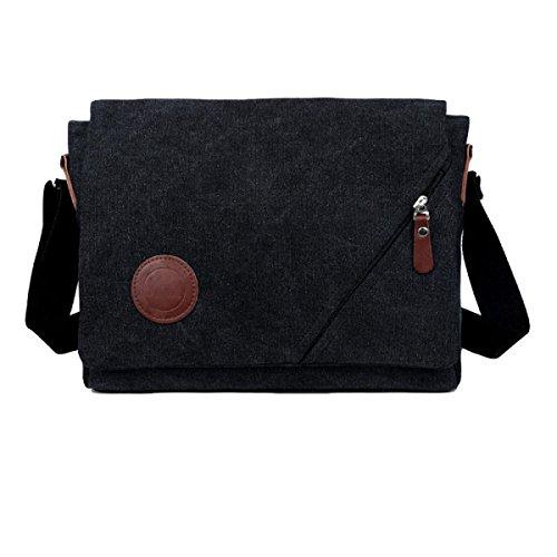 Männer Segeltuchbeutel Diagonales Paket Im Freiensportfreizeit-Schulterbeutel Große Kapazität Multi-Tasche Black