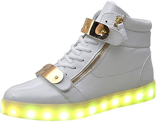 TULUO High Top Led Light Up Shoes Velcro metallo di ricarica USB 11 colori lampeggianti scarpe da tennis delle donne degli uomini per ragazzi delle ragazze White 35 EU