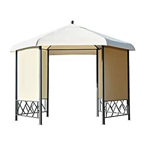 outsunny pavillon gartenpavillon gartenzelt partyzelt festzelt zelt 6 eckig metall. Black Bedroom Furniture Sets. Home Design Ideas