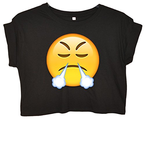 Steaming Face Emoji Crop Top Schwarz