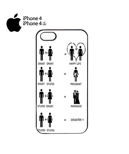 Relationship Analysis Stupid Smart Disaster Happy Life Mobile Phone Case Cover iPhone 4&4s Black Noir