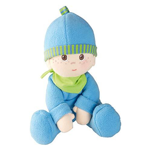 Haba 2617 - Kuschelpuppe Luis, weiche Stoffpuppe, für Babys ab 0 Jahren, mit Strampelanzug aus flauschigem Fleece, ideales Geschenk zur Geburt oder Taufe (Für 1-jährigen Baby-puppen)