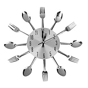 Generic Others Cutlery Kitchen Wall Clock , Silver