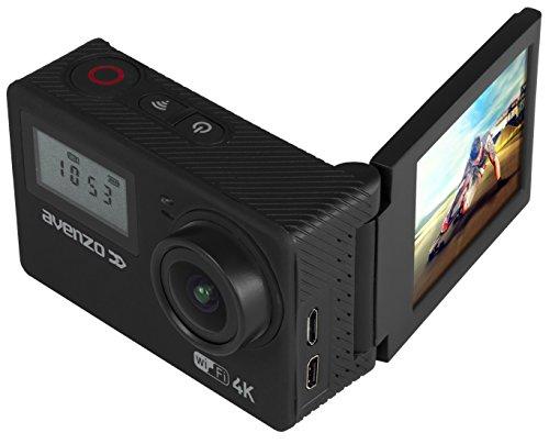 Avenzo av715–Fotocamera sportiva 4K con Wi-Fi, schermo girevole e LCD frontale, colore: nero
