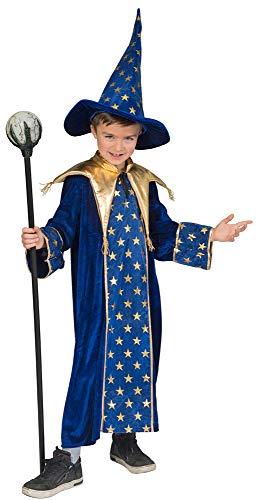 Zauberer Isior Kostüm für Kinder - Blau Gr. - Hokus Pokus Kostüm