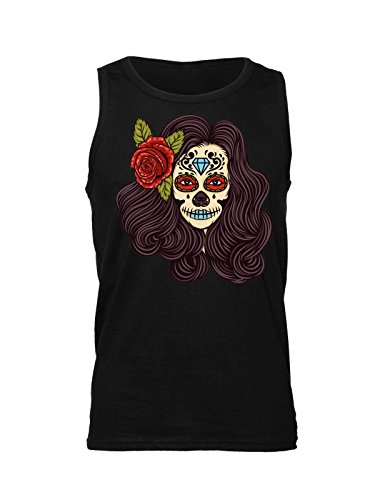 Creepy Girl With Flower In Her Hair Men's Tank Top Shirt Large (Black Halloween-make-up Lips)