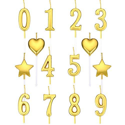 Hicarer Geburtstagskerzen Set Enthält 10 Stücke Tortennummer Kerzen Nummer 0-9 Glitter Cake Topper, 4 Stücke Sternkerzen und 4 Stücke Herzkerzen für die Geburtstagsfeier -