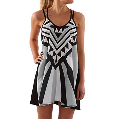 d,Mode Plus Größe O-Ausschnitt Leibchen Ärmellos Drucken Kleid,Kleider Damen Sommer 2019 ()