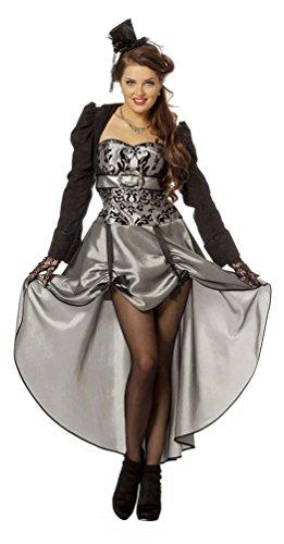 Karneval Klamotten Viktorianisches Damen-Kostüm Barock Kostüm Damen Renaissance Kostüm Baronin Luxus silber schwarz Damen-Kostüm Größe (Kostüm Baronin)