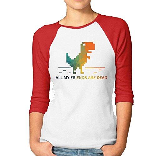 FHddg Party Puzzle Dinosaur Attractive Women Baseball Raglan T Shirt