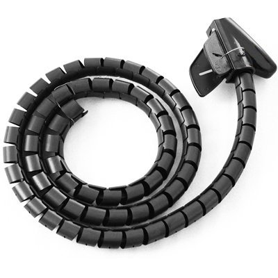 New BLACK 2 Metre Cable Tidy Kit PC TV Wire Organising Wrap Tool Spiral Office Home