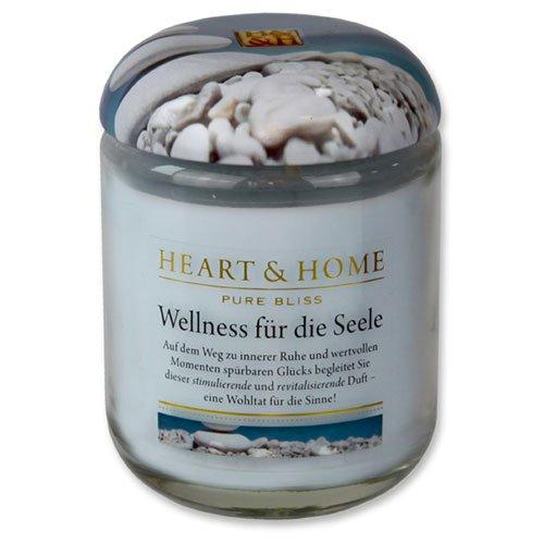 Heart & Home Wellness Bougie parfumée à la mer et à la cire de soja Parfum orange et jasmin, bougie de cire de soja dans le verre, brûle jusqu'à 75 h, végan, 340 g