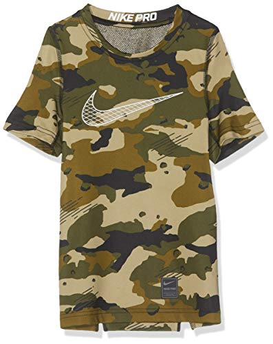 Nike Jungen B NP SS COMP AOP T-Shirt, Olive Canvas/White, XL -