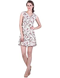 Bonhomie Women Skater Dress With Shoulder Lace Inserts