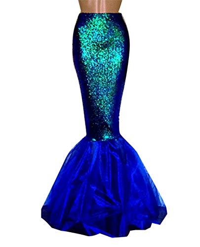 Für Meerjungfrau Kleid Erwachsene Kostüm Pailletten - Loalirando Damen Meerjungfrau Kostüm Halloween Mermaid Bühnenkostüme Pailletten Maxirock Cosplay Karneval Abendkleid (Blau, XL)