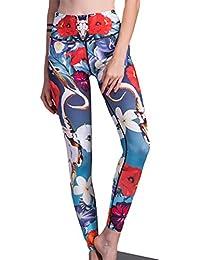 Yiiquan Femme Imprimee Floral Leggings de Sport Yoga Pantalon Collant pour  Fitness Jogging 0a029a7fc1b