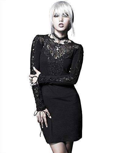 Rave Gothic Punk Steampunk Nightingale Kleid schwarz Spitze, langärmlig - Schwarz - Schwarz, S-M: UK Womens Size 8 - ()