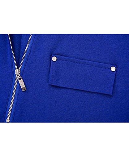 Moon Angle Frauen V Ausschnitt Langarm Roll Up Ärmel Zipper Casual Bluse T Shirts Tops Blau