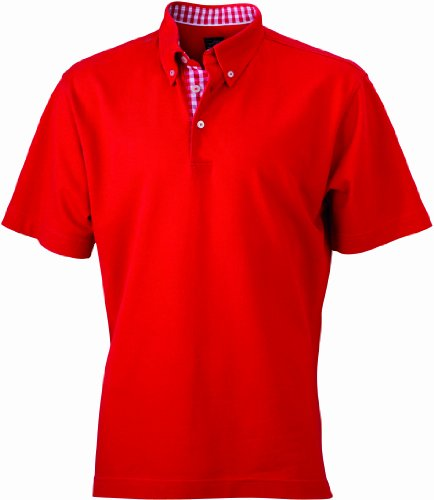 James & Nicholson Herren Poloshirt Poloshirt Men's Plain rot (red/red-white) XX-Large (Plain-kragen-shirt)