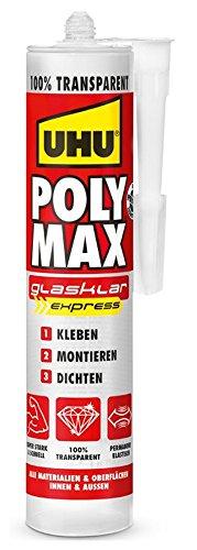 UHU Poly Max Glasklar Express Kartusche, Transparenter Montageklebstoff und Dichtmittel mit hoher Endfestigkeit, 300 g -