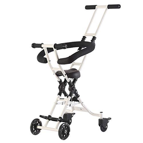 Carrito de bebé Bebé de cuatro ruedas resistente a los golpes Ligero plegable para niños Trolley Trend Adventure Travel System Range Aviación de aluminio blanco 6.30