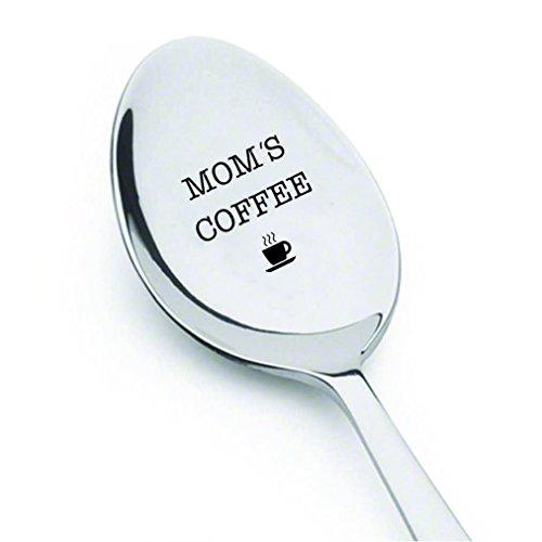 """Signatives Teelöffel mit der Aufschrift """"Moms's Coffee"""", Geschenkidee zum Muttertag oder Geburtstag, aus Edelstahl, graviert, lustig"""