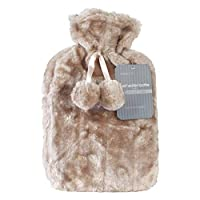Beamfeature Soft Faux Fur Hot Water Bottles With Pom Pom Decoration (Taupe)