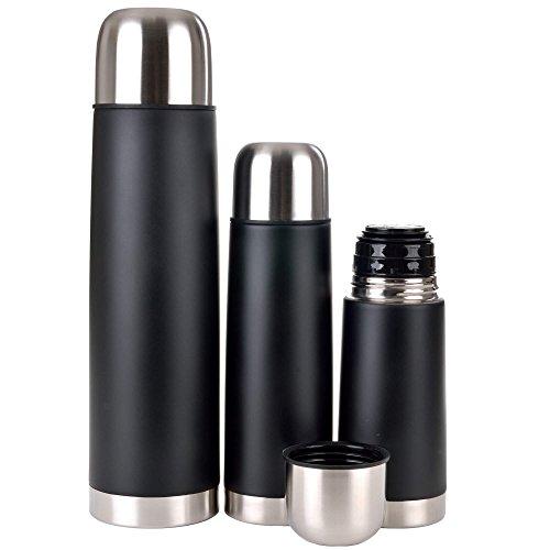 GRÄWE Thermo-/Isolierflaschen aus Edelstahl 3er Set, schwarz - 3 Vakuum-Trinkflaschen 0,35 / 0,5 / 1 Liter, spülmaschinenfest, bruchfest