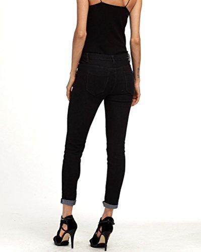 Donna A Vita Alta Leggings Casuale Skinny Jeans Pantaloni In Denim Matita Pantaloni Nero