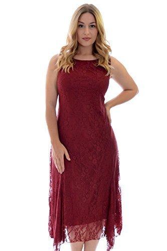 Neues Damen Übergrößen Kleid Frauen Spitze Spanisch Ärmellos Knielang Ladies Plus Size Floral Lace Maxi Dress Sale Nouvelle Collection Wein 54-56 (Spanisch-spitze-lange Kleid)