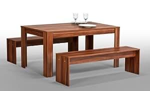 sitzgruppe tisch 2x bank b nke esszimmergruppe esstisch nussbaum merano k che haushalt. Black Bedroom Furniture Sets. Home Design Ideas