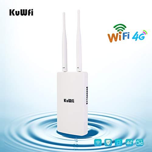 4G Router LTE, KuWFi 150Mbps CAT4 3G 4G LTE Router con slot per schede SIM Funziona con telecamera...
