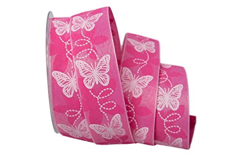 Christa-Bänder Motivband Schmetterling pink ohne Draht 40mm