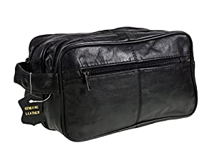 Men's Black Leather Washbag Travel Wash Bag with 2 compartments and handle