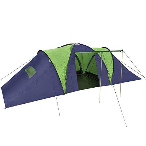 Campingzelt Camping Zelt 9 Personen Gruppenzelt Outdoor blau-grün ()