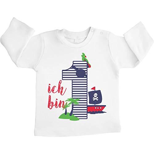Shirtgeil 1 Geburtstag Piraten Geschenk Baby Jungen Langarmshirt 12-18 Monate / 86 Weiß